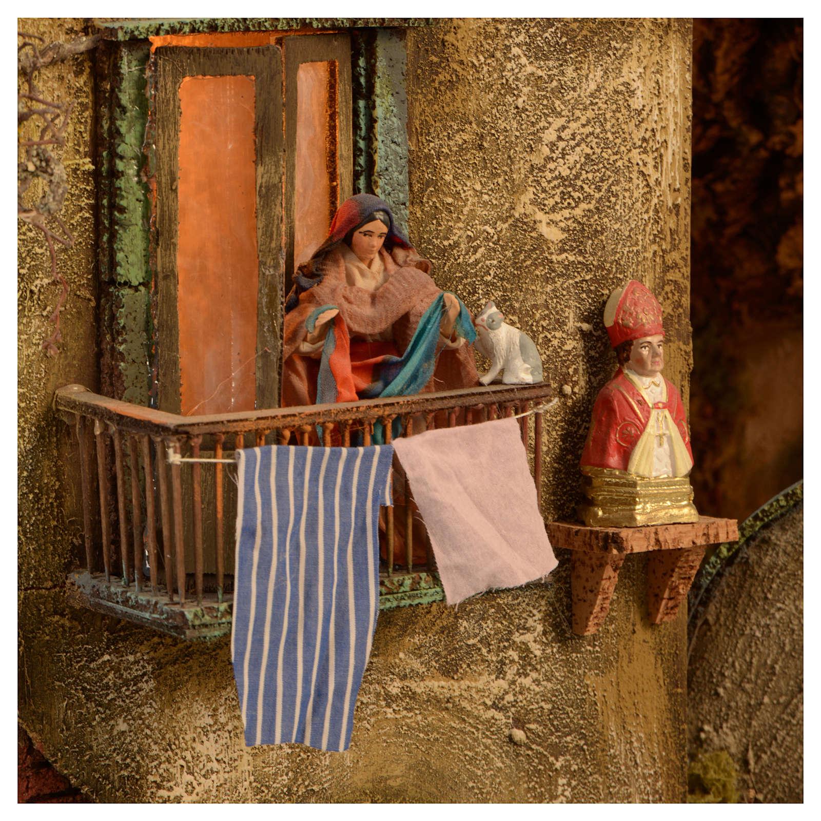 Bourgade crèche Naples mod. C 120x100x100 cm fontaine 9 mouvements 34 santons de 14 cm 4