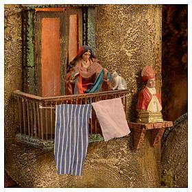 Bourgade crèche Naples mod. C 120x100x100 cm fontaine 9 mouvements 34 santons de 14 cm s7
