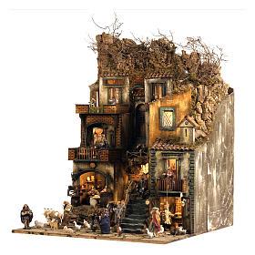 Aldea belén Nápoles mód. D 120x100x100 cm fuente 25 pastores 3 mov - 14 cm s3