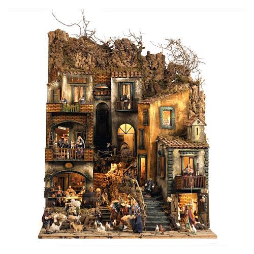 Aldea belén Nápoles mód. D 120x100x100 cm fuente 25 pastores 3 mov - 14 cm 1