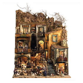 Borgo presepe Napoli mod. D 120X100X100 cm fontana 25 pastori 3 mov - 14 cm s1
