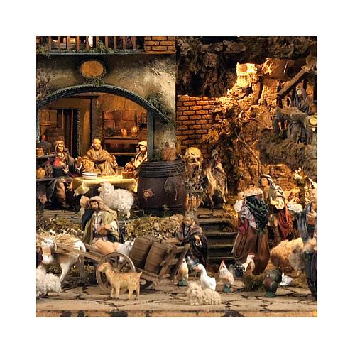 Borgo presepe Napoli mod. D 120X100X100 cm fontana 25 pastori 3 mov - 14 cm 2