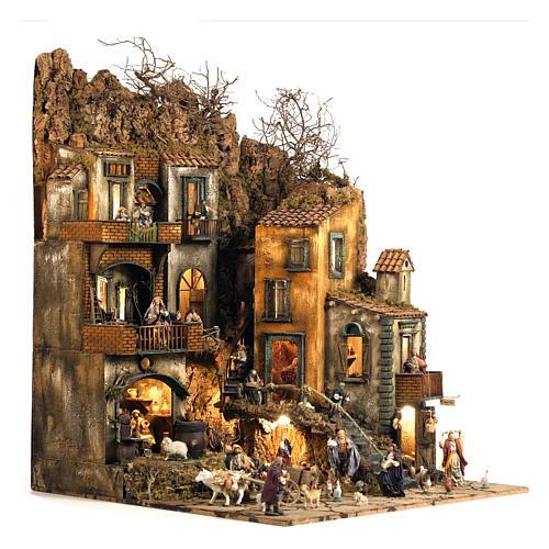 Borgo presepe Napoli mod. D 120X100X100 cm fontana 25 pastori 3 mov - 14 cm 5