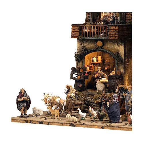 Borgo presepe Napoli mod. D 120X100X100 cm fontana 25 pastori 3 mov - 14 cm 6