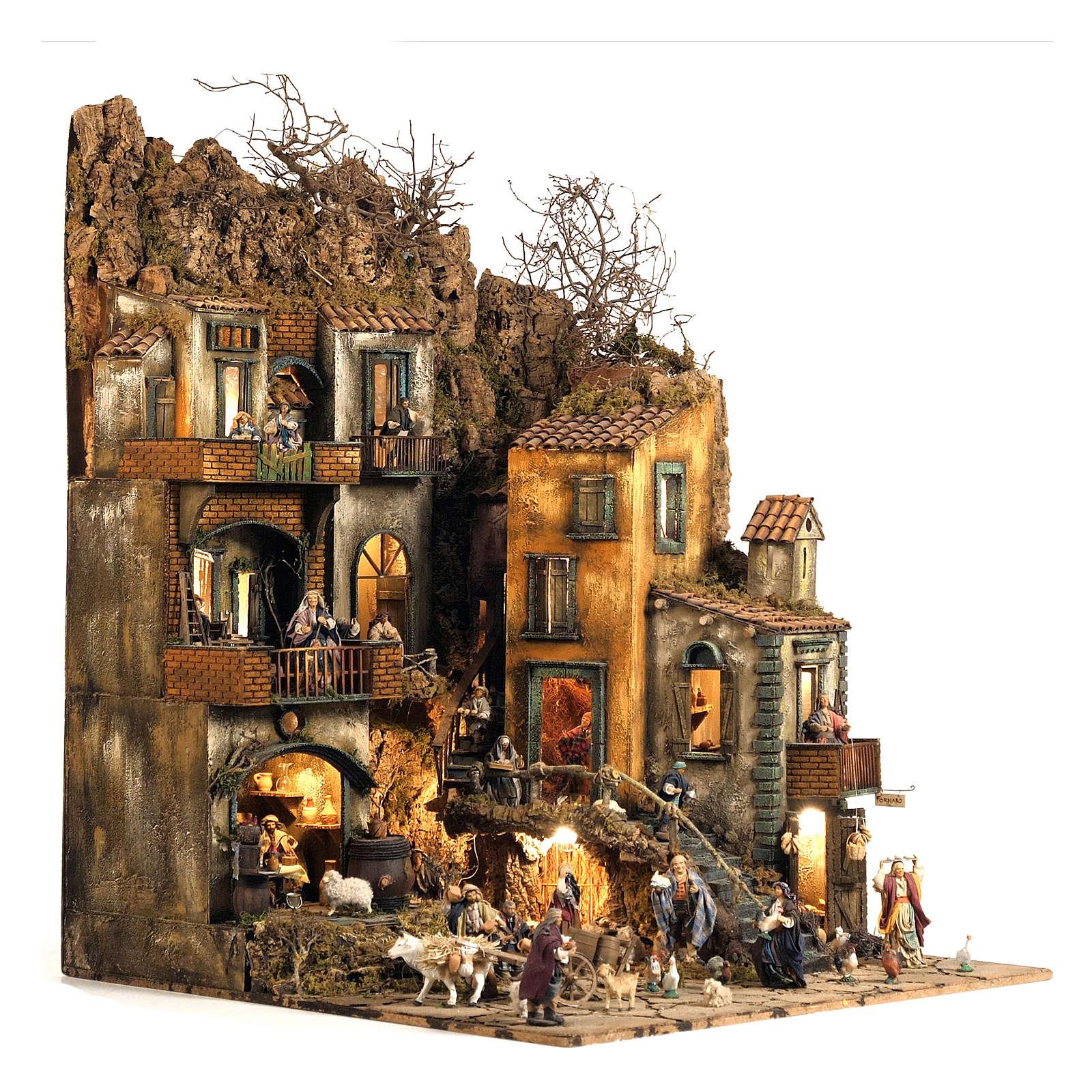 Burgo presépio Nápoles parte D 120x100x100 cm fontanário 25 peças 3 movimentos 4