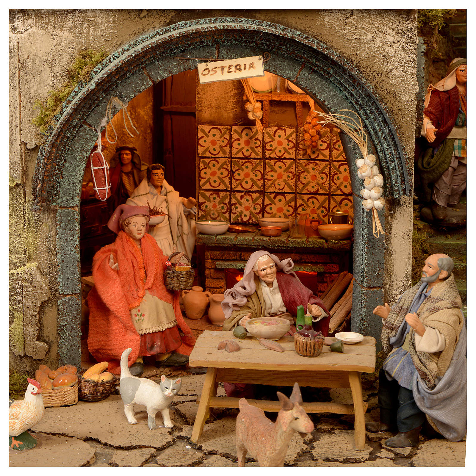 Village setting for Neapolitan Nativity scene 120x400x100 cm, 4 modules, 125 shepherds, 20 movements - 14 cm 4