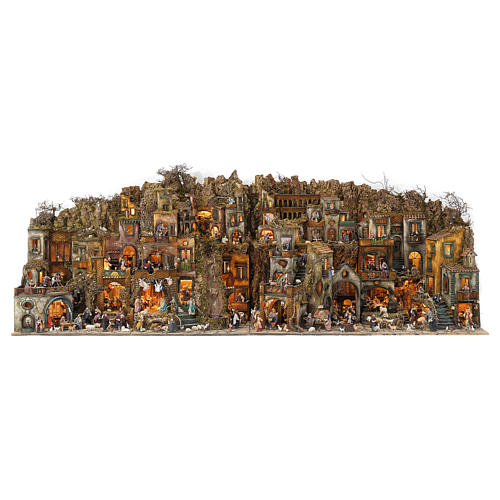 Village setting for Neapolitan Nativity scene 120x400x100 cm, 4 modules, 125 shepherds, 20 movements - 14 cm 1