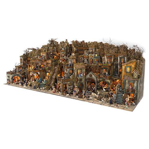 Village setting for Neapolitan Nativity scene 120x400x100 cm, 4 modules, 125 shepherds, 20 movements - 14 cm 2