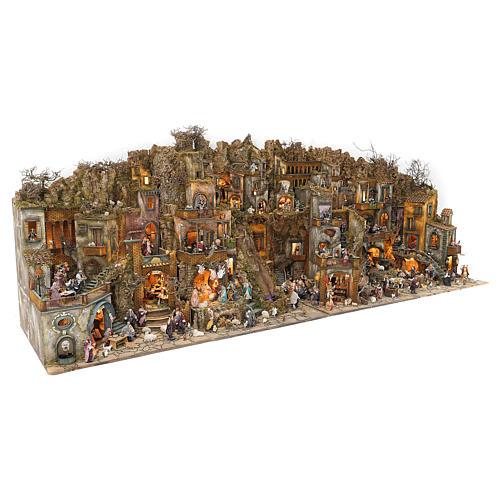 Village setting for Neapolitan Nativity scene 120x400x100 cm, 4 modules, 125 shepherds, 20 movements - 14 cm 3