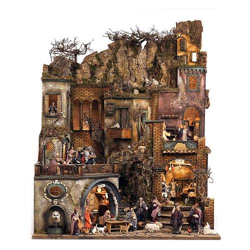 Village setting for Neapolitan Nativity scene 120x400x100 cm, 4 modules, 125 shepherds, 20 movements - 14 cm 5