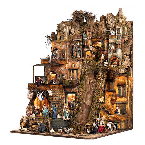 Village setting for Neapolitan Nativity scene 120x400x100 cm, 4 modules, 125 shepherds, 20 movements - 14 cm 7
