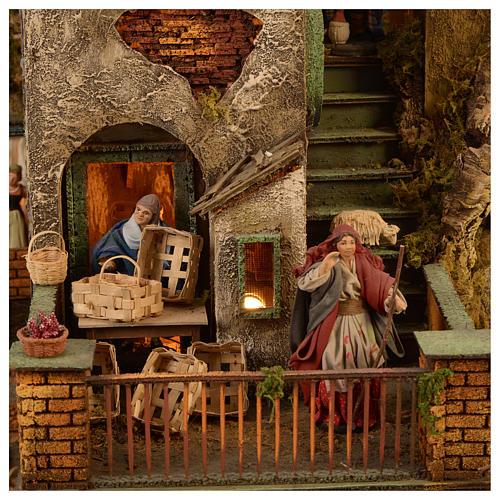 Village setting for Neapolitan Nativity scene 120x400x100 cm, 4 modules, 125 shepherds, 20 movements - 14 cm 8
