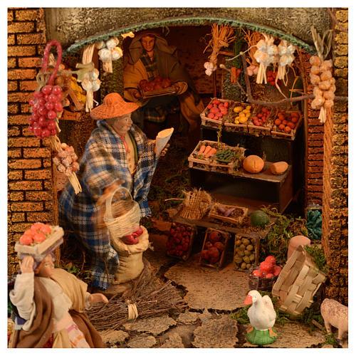 Village setting for Neapolitan Nativity scene 120x400x100 cm, 4 modules, 125 shepherds, 20 movements - 14 cm 10