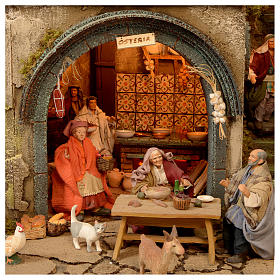 Bourgade crèche Naples décor complet Naples 4 modules 120x400x100 cm 125 santons de 14 cm 20 mouvements s4
