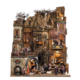 Bourgade crèche Naples décor complet Naples 4 modules 120x400x100 cm 125 santons de 14 cm 20 mouvements s5