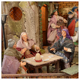 Bourgade crèche Naples décor complet Naples 4 modules 120x400x100 cm 125 santons de 14 cm 20 mouvements s6