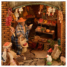 Bourgade crèche Naples décor complet Naples 4 modules 120x400x100 cm 125 santons de 14 cm 20 mouvements s10
