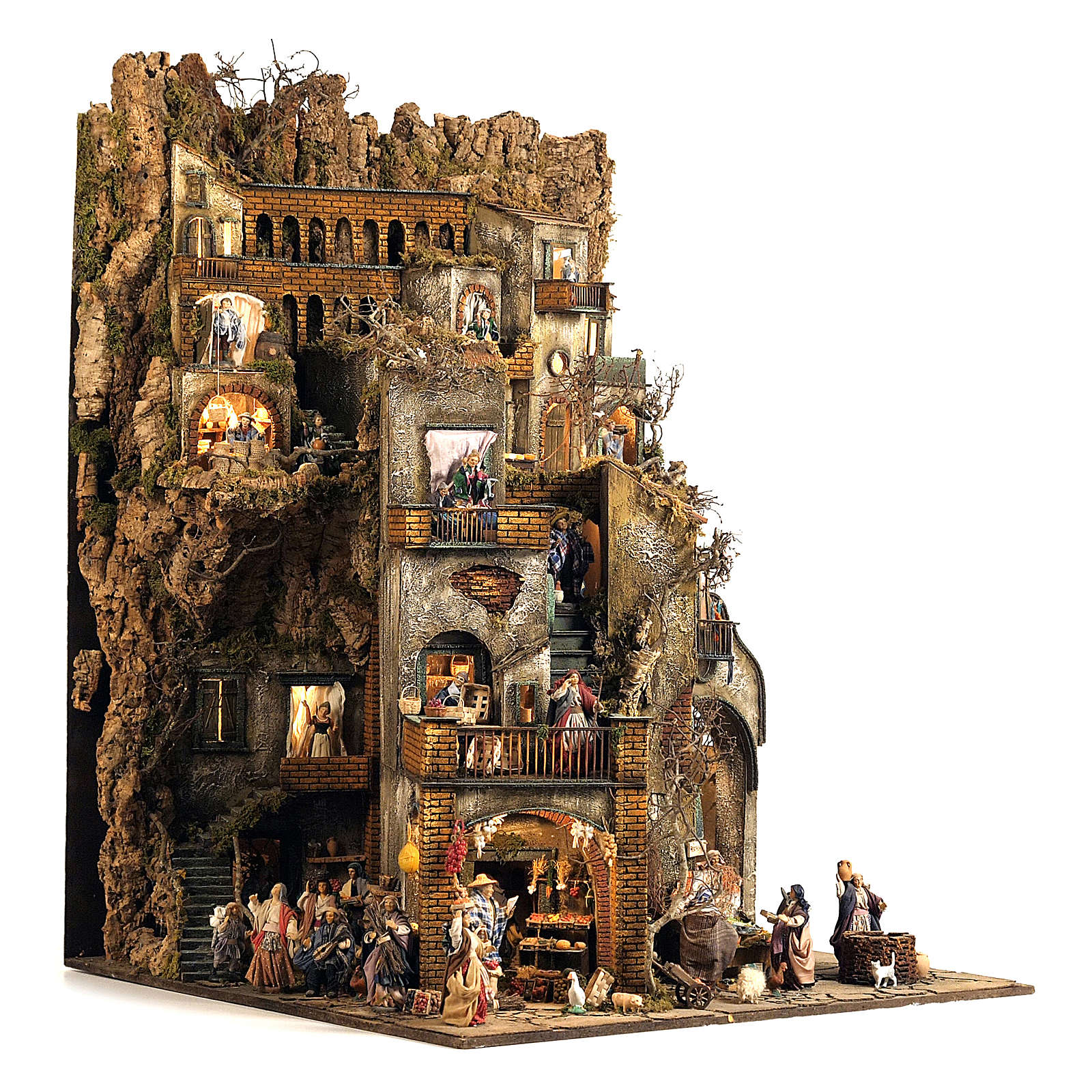 Borgo presepe completo scenografico Napoli 4 mod 120x400x100 cm, 125 past, 20 mov - 14 cm 4