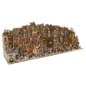 Borgo presepe completo scenografico Napoli 4 mod 120x400x100 cm, 125 past, 20 mov - 14 cm s3