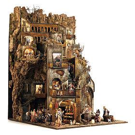 Borgo presepe completo scenografico Napoli 4 mod 120x400x100 cm, 125 past, 20 mov - 14 cm s9