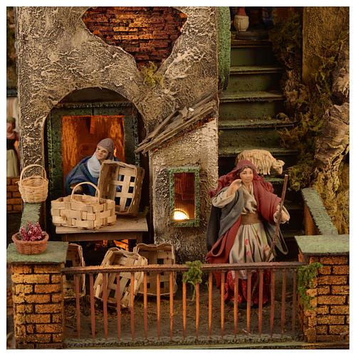 Borgo presepe completo scenografico Napoli 4 mod 120x400x100 cm, 125 past, 20 mov - 14 cm 8