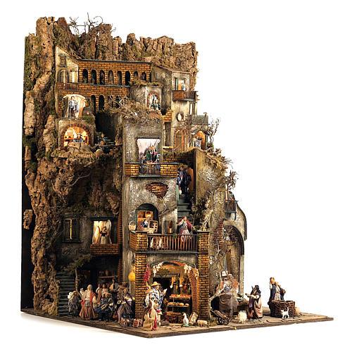 Borgo presepe completo scenografico Napoli 4 mod 120x400x100 cm, 125 past, 20 mov - 14 cm 9