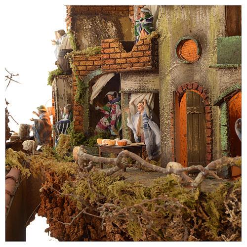 Borgo presepe completo scenografico Napoli 4 mod 120x400x100 cm, 125 past, 20 mov - 14 cm 12