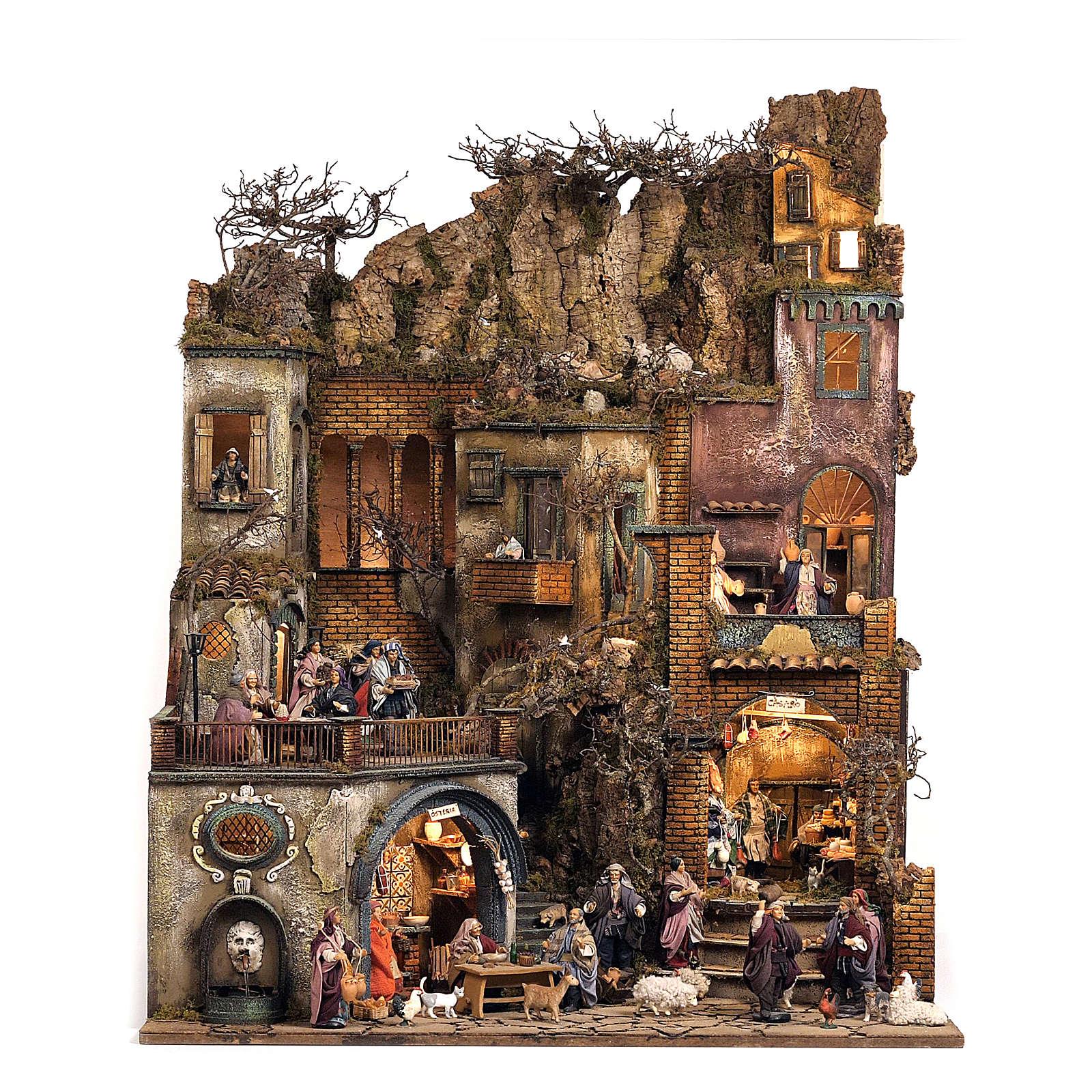 Aldeia Completa em Miniatura para Presépio de Nápoles, 4 Partes, 125 Pastores, 20 Movimentos, 120 x 400 x 100 cm 4