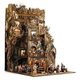 Aldeia Completa em Miniatura para Presépio de Nápoles, 4 Partes, 125 Pastores, 20 Movimentos, 120 x 400 x 100 cm s9