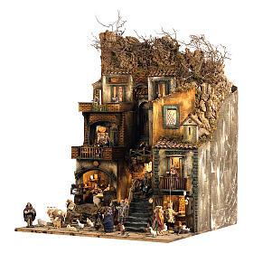 Aldeia Completa em Miniatura para Presépio de Nápoles, 4 Partes, 125 Pastores, 20 Movimentos, 120 x 400 x 100 cm s11