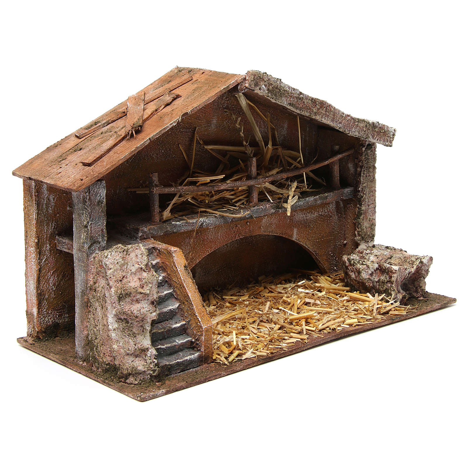 Hut with stairs for 12 cm nativity scene 4