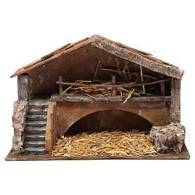 Hut with stairs for 12 cm nativity scene s1