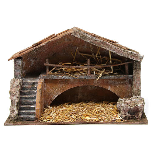 Hut with stairs for 12 cm nativity scene 1