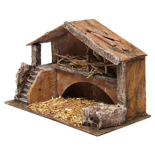 Hut with stairs for 12 cm nativity scene 2