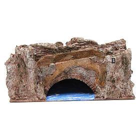 Ruscello ponte per presepe 10 cm 15X30X15 cm s1
