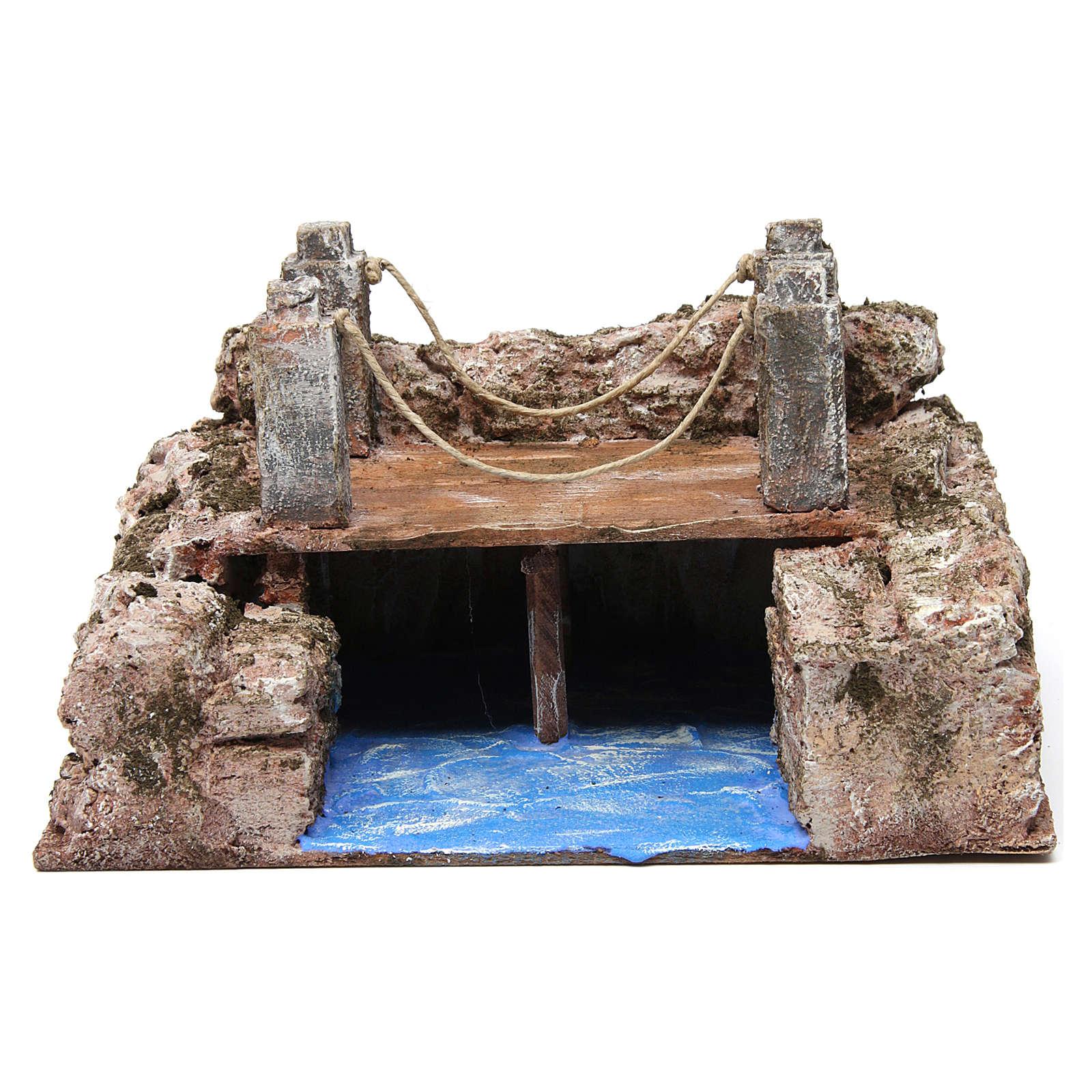 Ruscello ponte travi per presepe 12 cm 15X20X15 cm 4