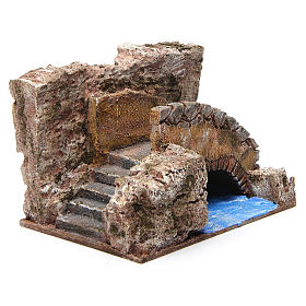 Stream with stairs and bridge for 10 cm nativity scene s3