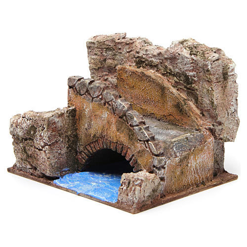 Stream with stairs and bridge for 10 cm nativity scene 2
