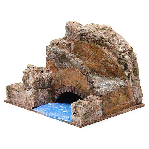 Brook bridge and stairs for Nativity 12 cm 20X25X15 cm 2