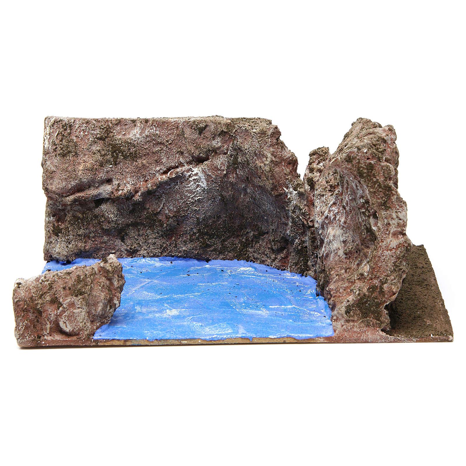 Ruscello angolo destro per presepe 12 cm 10x25x20 cm 4