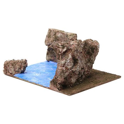 Ruscello angolo destro per presepe 12 cm 10x25x20 cm 3