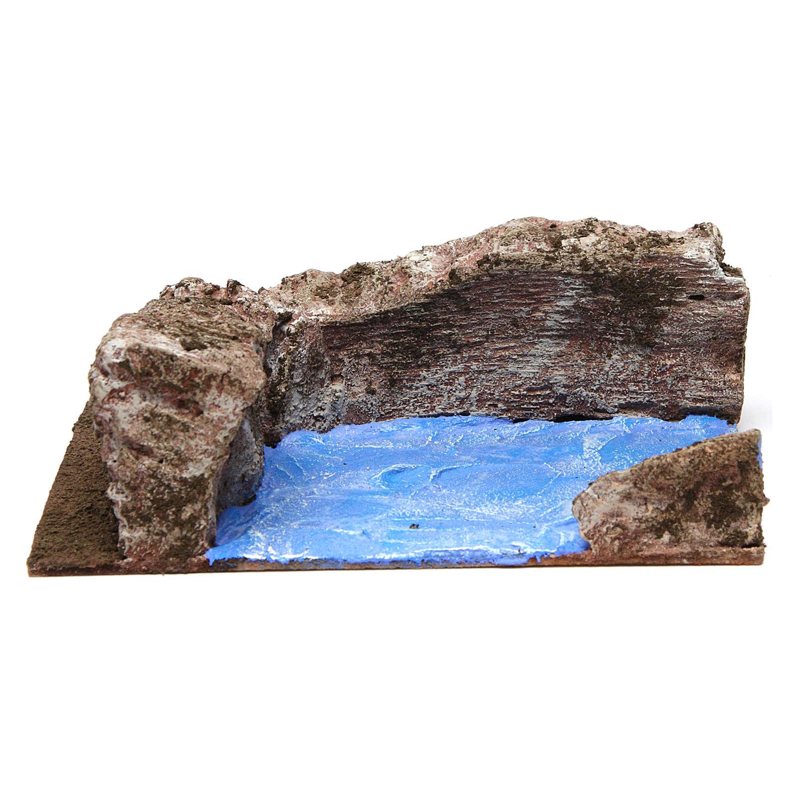 Ruscello angolo sinistro per presepe 10 cm 10x15x20 cm 4