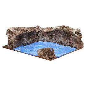 Ruscello angolo sinistro per presepe 10 cm 10x15x20 cm s3