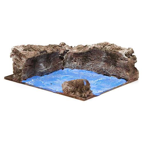 Ruscello angolo sinistro per presepe 10 cm 10x15x20 cm 3