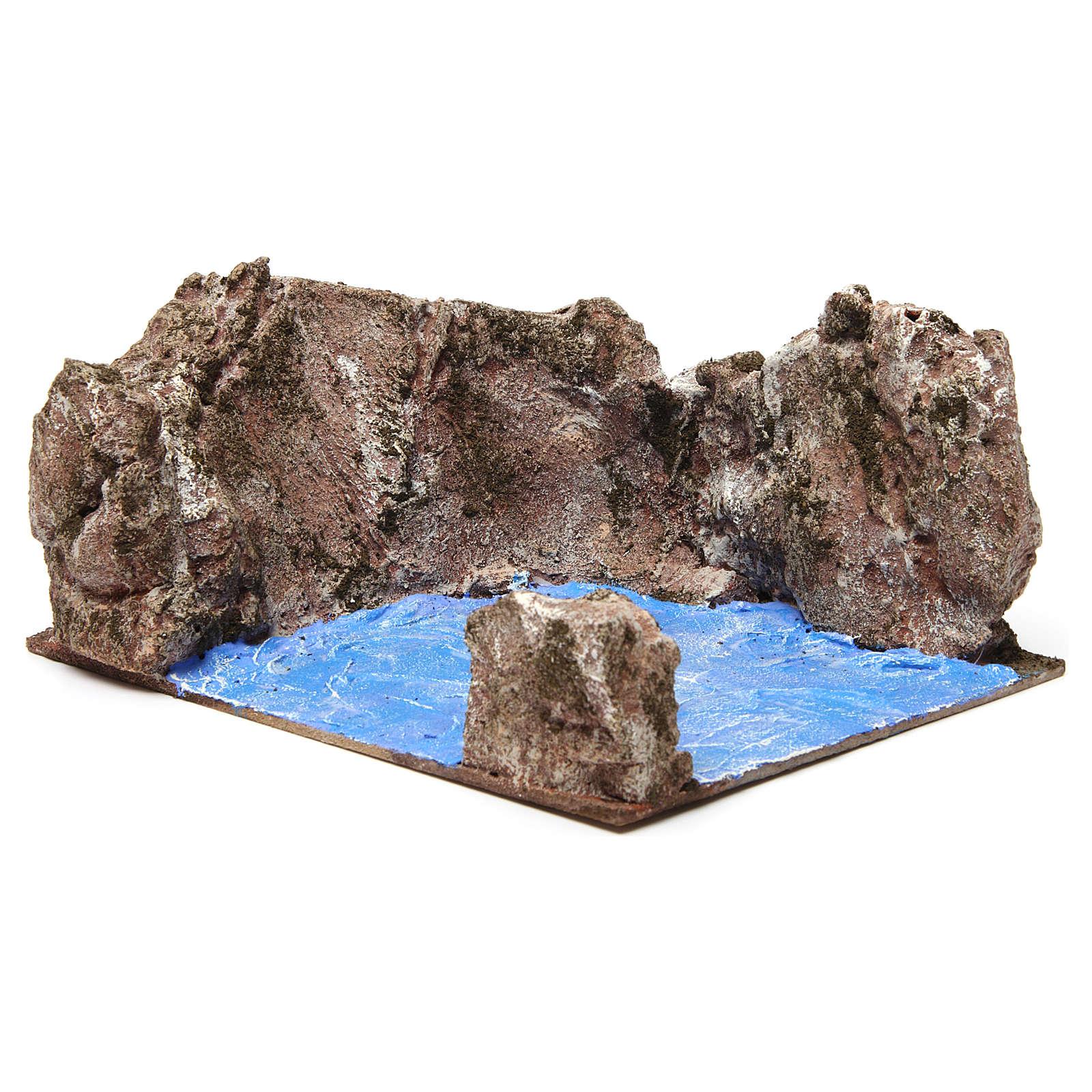 Left corner stream for nativity 12 cm 10x25x20 cm 4
