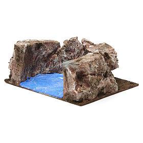 Ruscello semicerchio per presepe 10 cm 10x20x15 cm s3