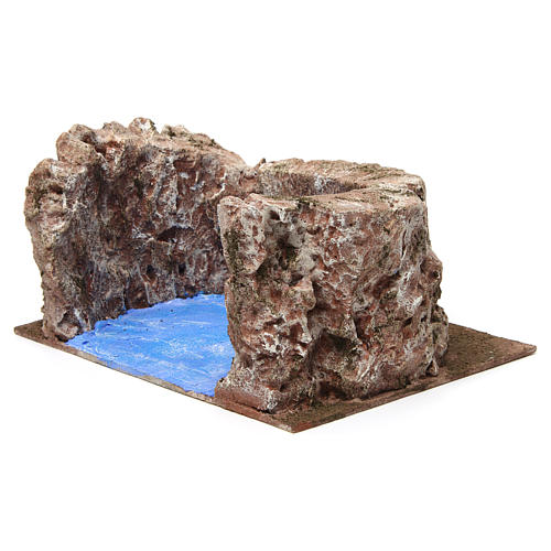 Ruscello semicerchio per presepe 12 cm 10x25x20 cm 3