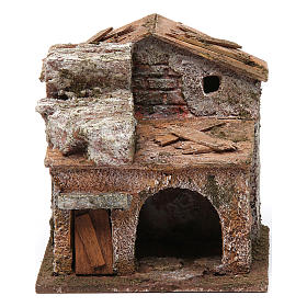 Settings, houses, workshops, wells: House with door and arch for nativity scene