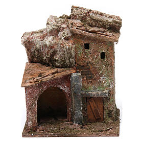 Settings, houses, workshops, wells: House with door and rocks for nativity scene
