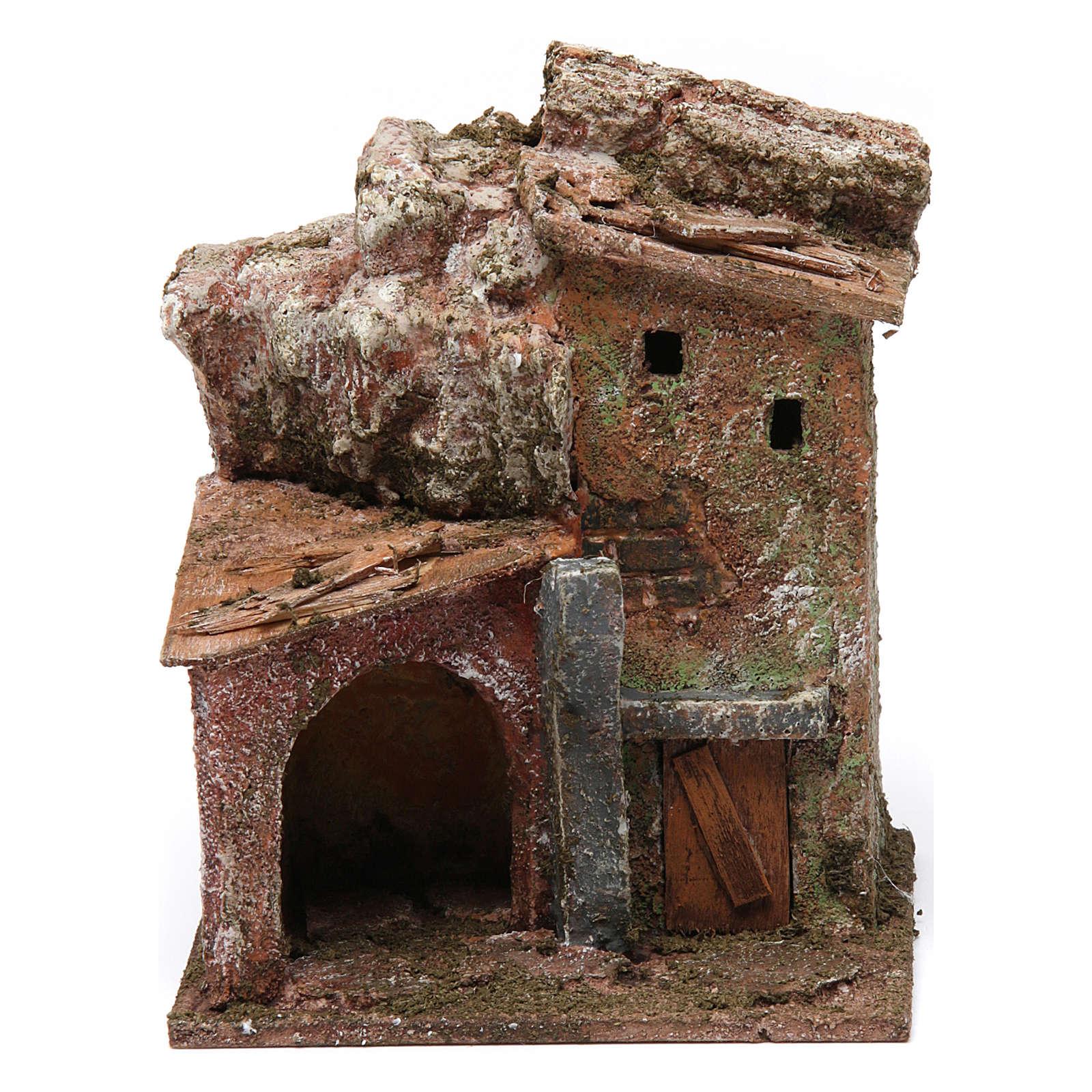 Casa porticato e arco 10x10x10 cm presepe 3 cm 4